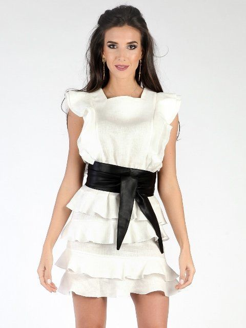 7f9def696f50 Carla Puro Lino Dámske šaty CRL17S P8021 WHITE BLACK značky Carla Puro Lino  - Lovely.sk