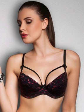 Elie pour Elle Dámska podprsenka MON-Desire-PUSH-UP-BLACK-RED