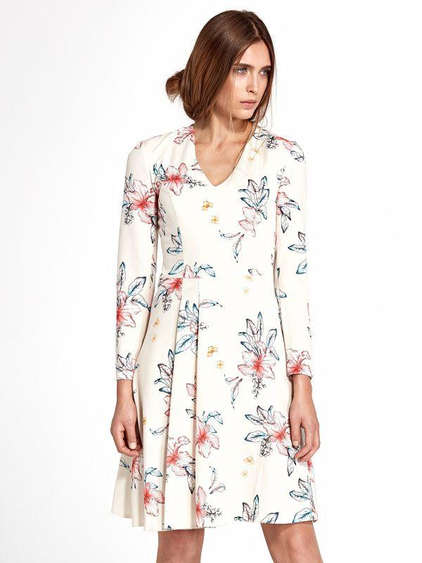 Nife Dámske šaty s109 flowers ecru značky Nife - Lovely.sk c45d4d14ac8