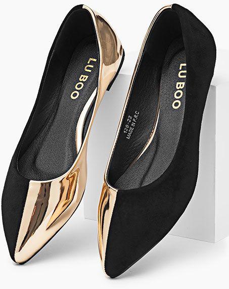c4c19685257aa LuBoo Dámske balerínky 128-22_Black- gold značky LuBoo - Lovely.sk