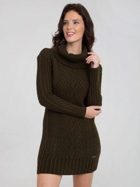 f812063c10 VENCA Pletené šaty s odnímateľným límcom khaki M značky VENCA ...