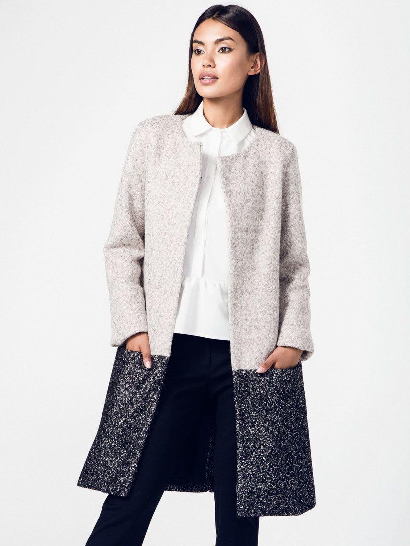 Rita Koss Dámsky kabát RK30 GREY BLACK značky Rita Koss - Lovely.sk 9c29f435356