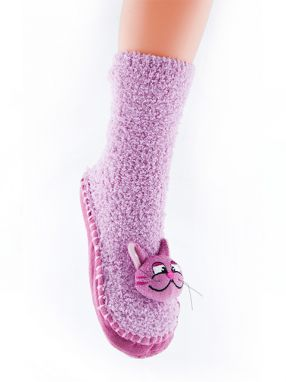 Attractive Froté ponožky CHAUSSONS CHAUSSETTES 24 WFP001 CAT PINK