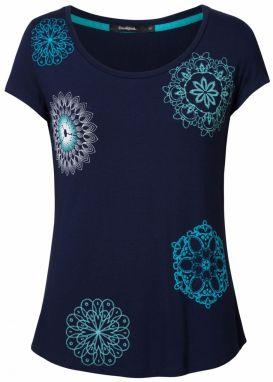 75336d915ec4 Desigual tyrkysové tričko TS Sole s farebnými motívmi značky ...