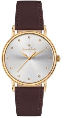 Gaspard Sartre Dámske hodinky G3600-10C La Variée Gold IP White Zirkónia Ladies Leather Brown