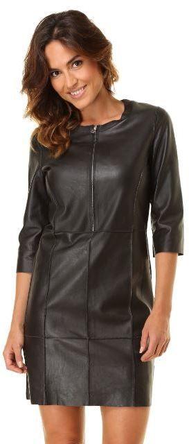 Isaco Kawa Dámske kožené šaty A4904-Noir značky Isaco Kawa - Lovely.sk 552094e615b
