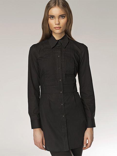 8fc5137ac167 Nife Dámska dlhá košeľa k19 black značky Nife - Lovely.sk