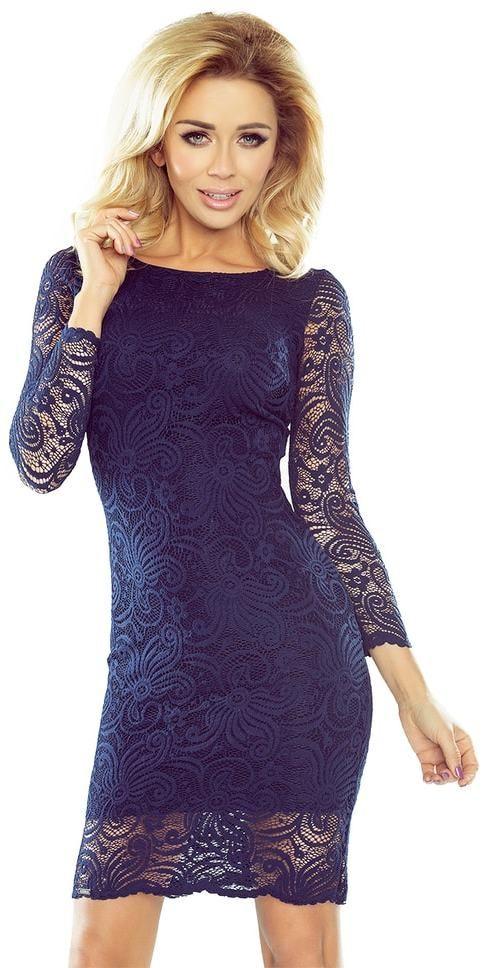 3e5103273381 Modré čipkované šaty Numoco nm-sat174-1 - Lovely.sk