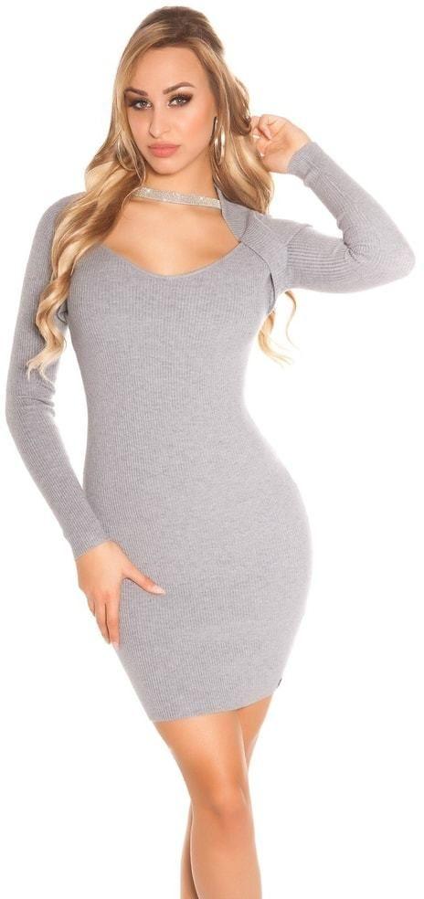 fd35bc428c95 Dámske úpletové mini šaty Koucla in-sat1690gr - Lovely.sk