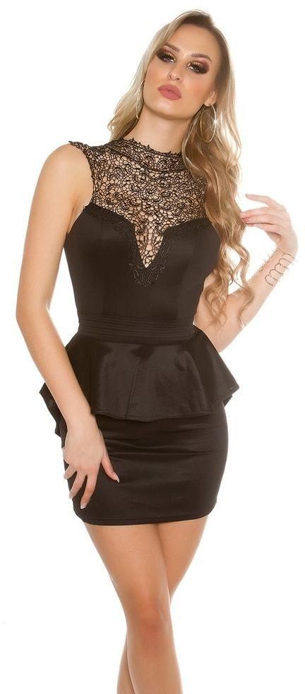 b80a4e06a3d7 Krátke čierne čipkované šaty Koucla in-sat1432bl - Lovely.sk