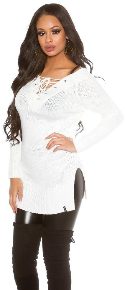 48d7386ff382 Dlhší biely dámsky sveter Koucla in-sv1435wh - Lovely.sk