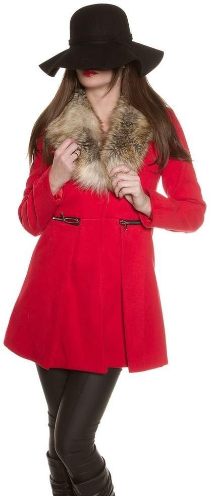 6fc77bd9c852 Dámsky elegantný kabát Koucla in-bu1157re - Lovely.sk