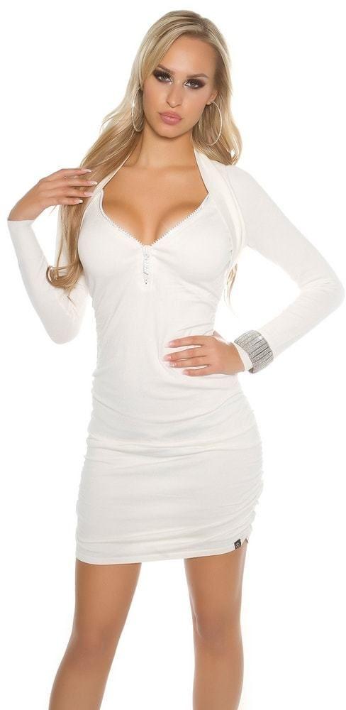 Elegantné úpletové šaty Koucla in-sat1378wh - Lovely.sk 25117c5b505