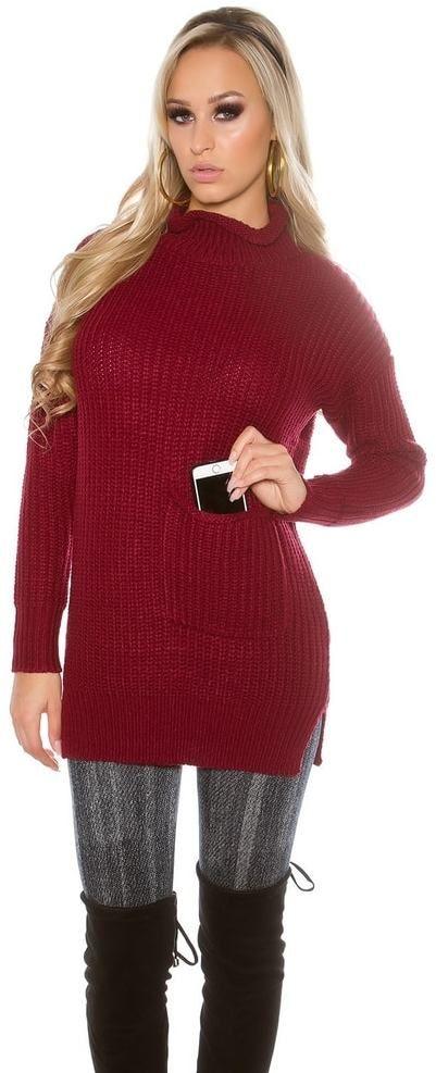57471bd4e6c4 Dámsky pletený sveter s rolákom Koucla in-sv1413bo - Lovely.sk
