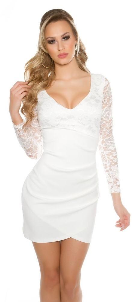 6fc51a254644 Spoločenské šaty s čipkou Koucla in-sat1464wh - Lovely.sk