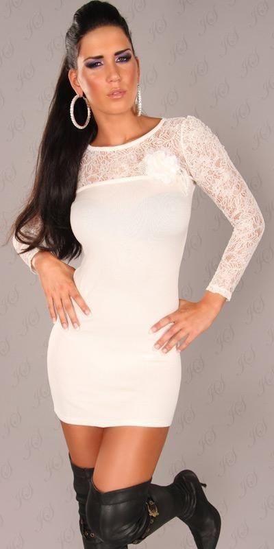 025812411f4 Elegantné mini šaty z úpletu Koucla in-sat1361wh - Lovely.sk