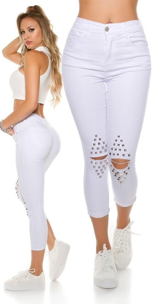 Skinny džínsy s dierami a nitmi Koucla in-ri1412wh - Lovely.sk 2e85612e77