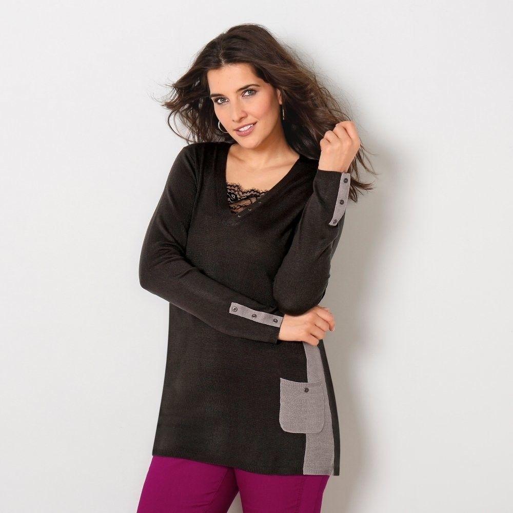f565579fc0dc Blancheporte Tunikový dvojfarebný pulóver antracitová sivý melír 38 40  značky Blancheporte - Lovely.sk