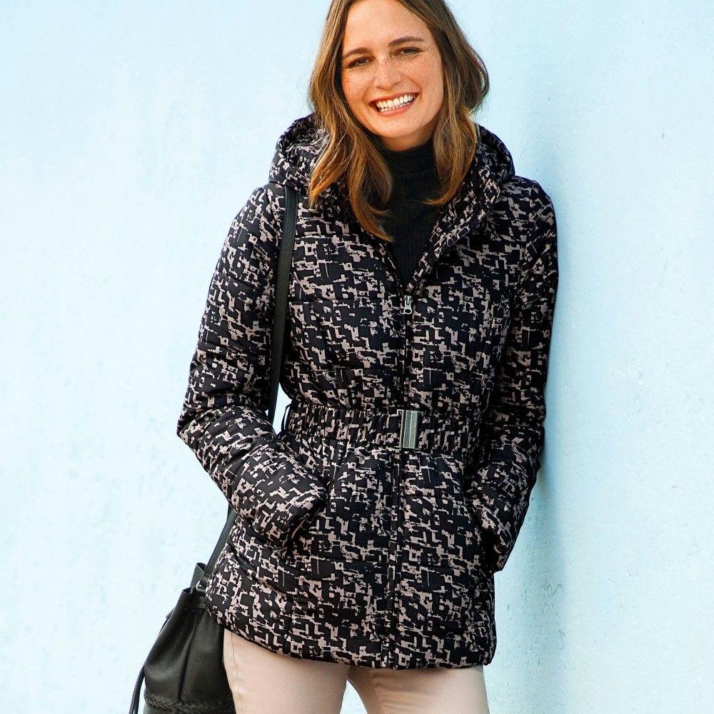 Blancheporte Krátka bunda s potlačou a opaskom čierna hnedosivá 36 značky  Blancheporte - Lovely.sk e0b219370ce