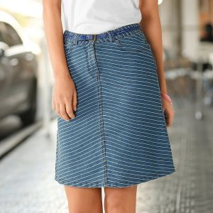 2765ab65f287 Blancheporte Pruhovaná džínsová sukňa modrá 50