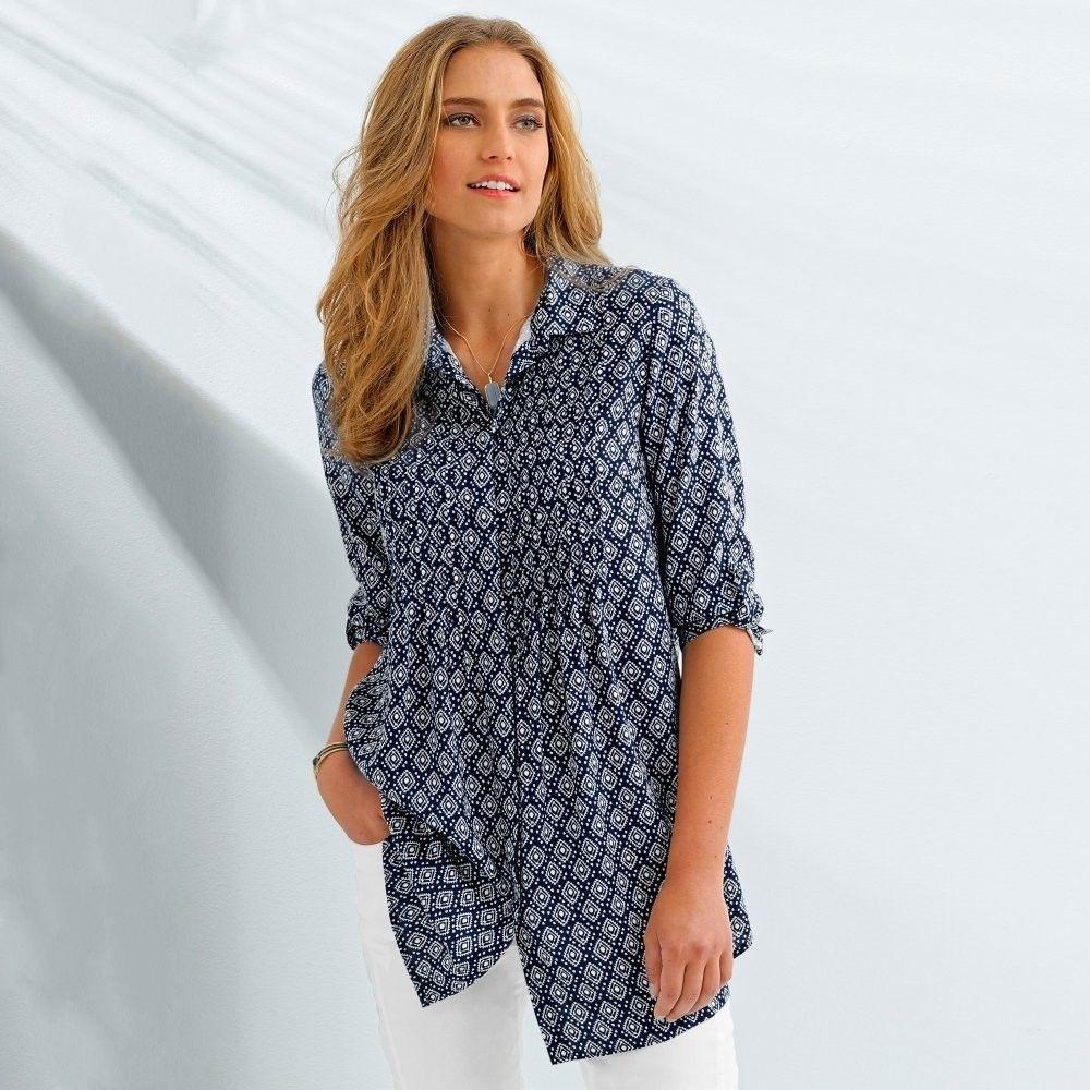 423fabf868bd Blancheporte Dlhá košeľa s potlačou a 3 4 rukávmi indigo biela 40 značky  Blancheporte - Lovely.sk