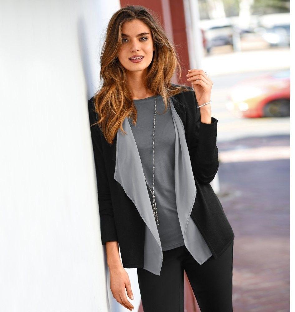 0f1f3aaa5528 Blancheporte Dvojfarebný sveter s cípmi čierna sivá 38 40 značky  Blancheporte - Lovely.sk
