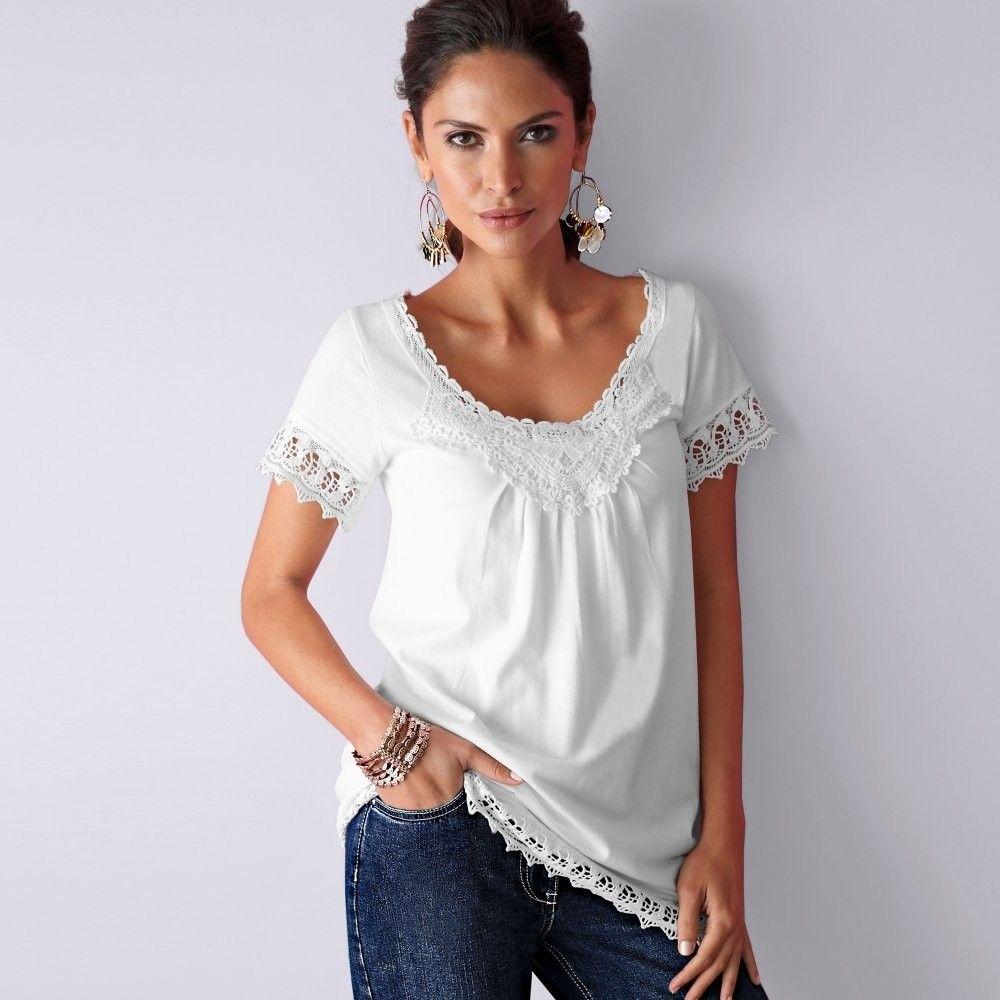 Blancheporte Tričko s čipkou macramé biela 34 36 značky Blancheporte -  Lovely.sk 1e704a6069f