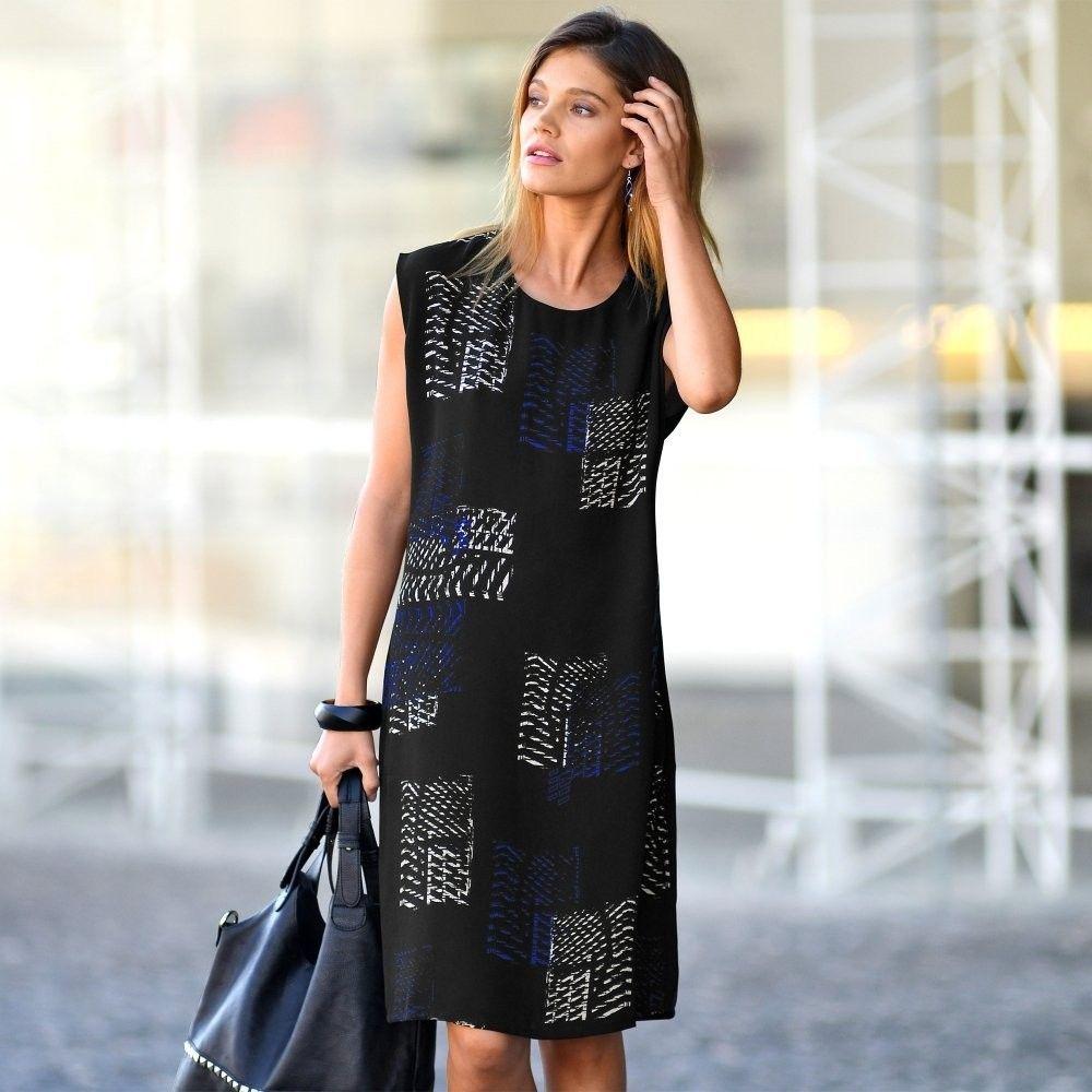 1336b4c5792a Blancheporte Rovné šaty s grafickým vzorom čierna koralová 44 značky  Blancheporte - Lovely.sk