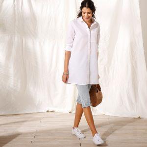 7d4fe5608df0 Blancheporte Dlhá košeľa s potlačou a 3 4 rukávmi indigo biela 46 ...