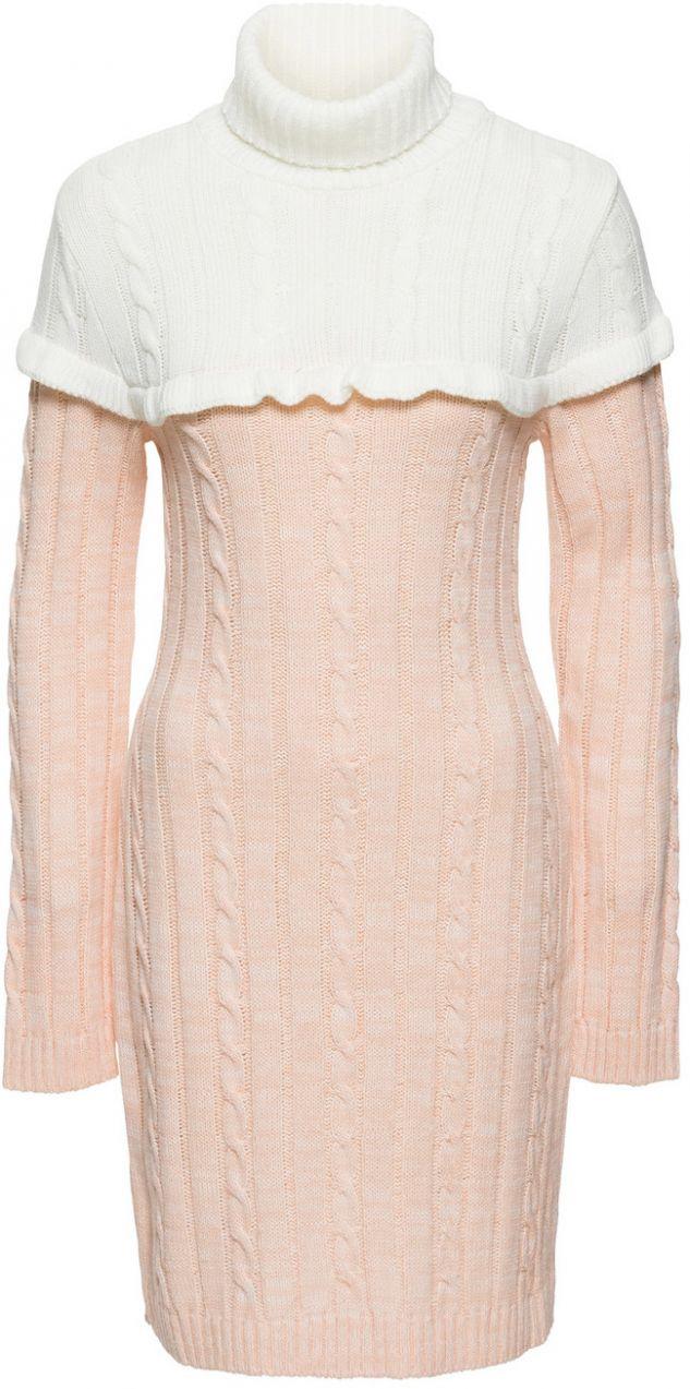 Pletené šaty s golierom bonprix značky BODYFLIRT boutique - Lovely.sk 22a2aae6538