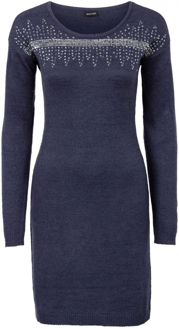 Pletené šaty s flitrovanou aplikáciou bonprix značky BODYFLIRT - Lovely.sk ab63a3dbf41