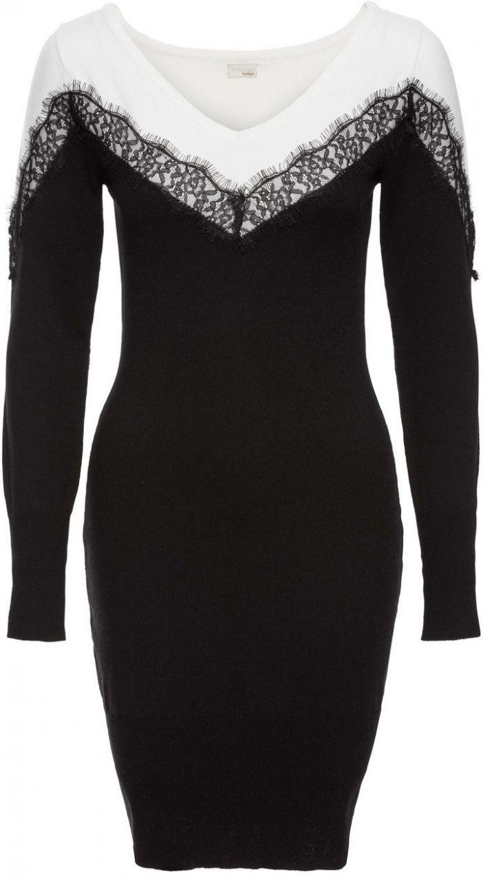 Pletené šaty s čipkou bonprix značky BODYFLIRT boutique - Lovely.sk f86c600255f