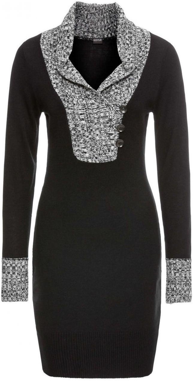 Pletené šaty s golierom bonprix značky BODYFLIRT - Lovely.sk 93aac660499