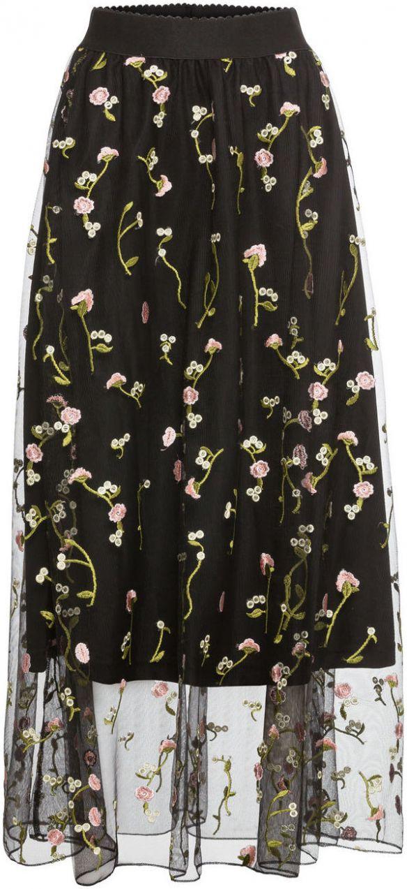6c5007e65db8 Tylová sukňa s kvetinovou vyšívkou bonprix značky RAINBOW - Lovely.sk