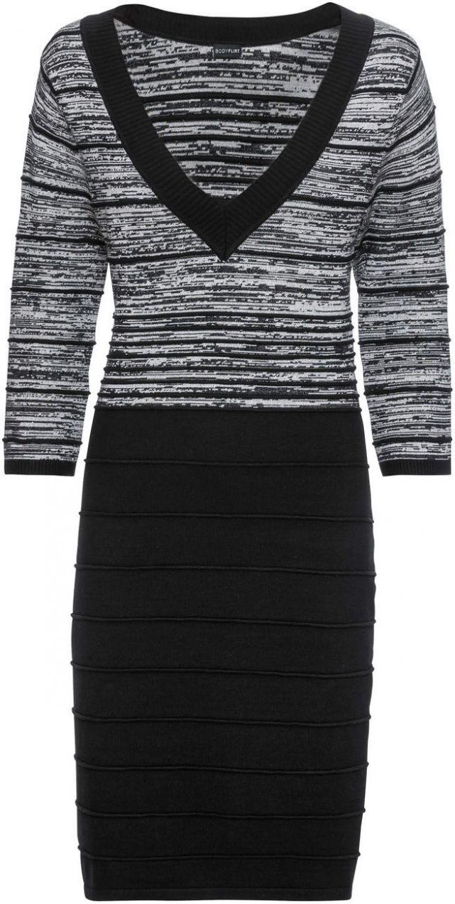 Pletené šaty s pásikmi bonprix značky BODYFLIRT - Lovely.sk ab1e832b9f2