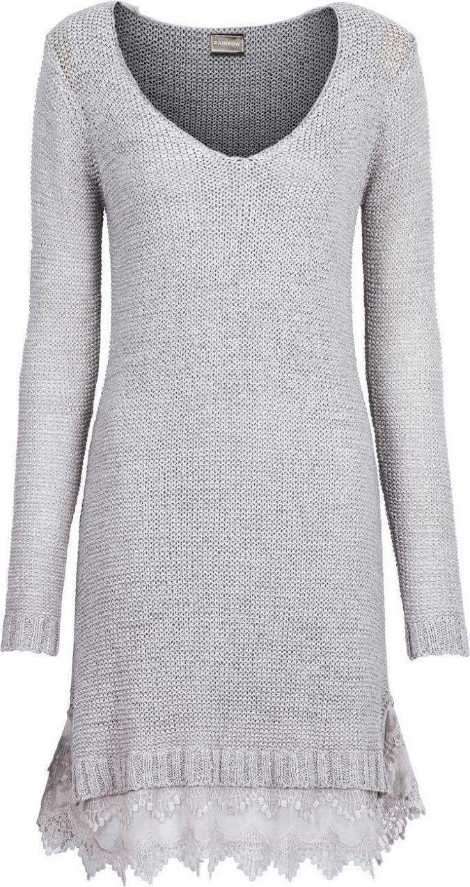 821da9e4ba03 Pletené šaty s čipkovými volánmi bonprix značky RAINBOW - Lovely.sk