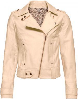 Krémová dámska kožená bunda s perforovanými detailmi KARA Zafira ... 56e5e8d949d