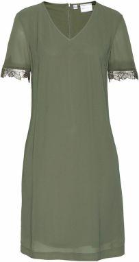 6d6e53b2fb VENCA Pletené šaty s odnímateľným límcom khaki L značky VENCA ...