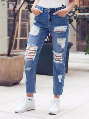 Jeans Mummy Fit With Destroy Blue 24