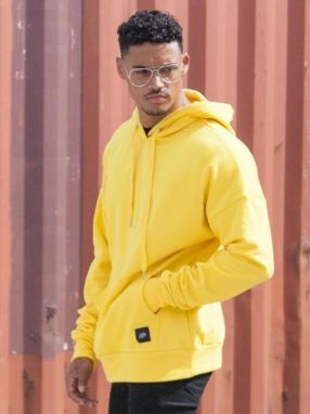 Hoodie Yellow Dropped Shoulders XL