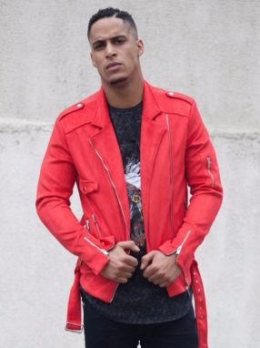 Jacket Perfecto Suédé Homme Red S