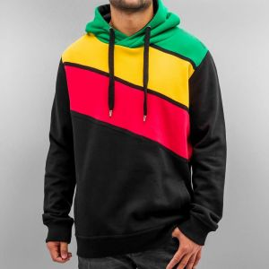 Three Colour Hoody Jet Black/Lemon/Chinese Red/Bright Green 3XL