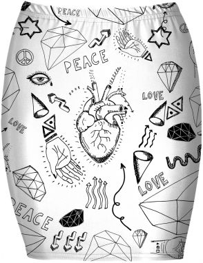 Bandeau Skirt Love Icons XS
