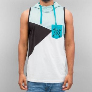 Hooded Tank Top Turquoise/Black/White S