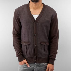 2 Tone Cardigan Dark Brown/Brown XXL