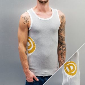 Big-D Tank Top Grey Melange/White/Old Gold 3XL