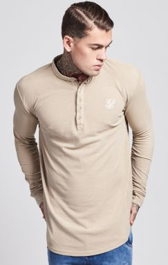 Tričko Collarless Polo Shirt Sand XL