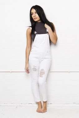 Jeans Lizzie Full Skinny Stretch Dungaree Ripped White 38