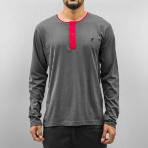 Button Tape Longsleeve Grey/Red L