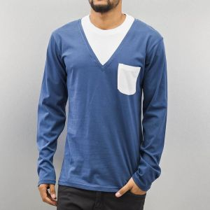 Breast Pocket Longsleeve Blue/White XXL